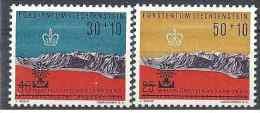 1960 LIECHTENSTEIN 353-54** Expo Bruxelles, Surchargé Réfugiés - Liechtenstein