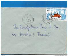 MARCOPHILIE-lettre- CONGO-pour Françe- Cad   1979-stamp -car-auto C&F DuryeaN°380 - Congo - Brazzaville