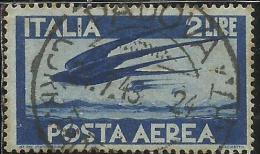 ITALIA REPUBBLICA ITALY REPUBLIC 1945 POSTA AEREA AIR MAIL DEMOCRATICA LIRE 2 USATO USED OBLITERE´ - 6. 1946-.. Republic