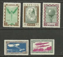 LETTLAND Latvia 1932 Michel 210 - 214 A * Leonardo Da Vinci Zeppelin Etc Incl INVERTED OPT (Mi 212 A) - Lettonie
