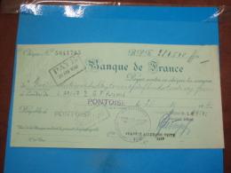"""Chéque N° 5041765 ) Pontoise - Chéque De La Banque De France 25/11/1942 - Pour Le 3ém Reich Allemand """" 284.540 Fr - - Documents"""