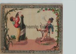 Grand Chromo Enfants Buvant Du Rhum Et Fumant  - Scans Recto-verso - Altri