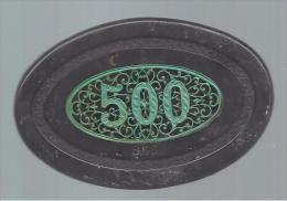 MONACO -- MONTE CARLO - PLAQUE OVALE De JEUX - SPORTING CLUB INTERNATIONAL 500 F. Plastique Brun-vert Veiné - Casino