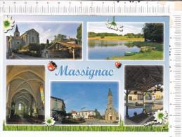 MASSIGNAC   -    5   Vues    -  Eglise   Paroissiale  Et  Lavoir   -  Lac   De  Moulde  -  Office  Tourisme  Et  Mairie - France