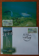 Maxi Card & FDC Blue Imprint 2015 ATM Frama Stamps-TAIPEI Stamp Exhi.-Taiwan Trout Fish Unusual - ATM - Frama (vignette)