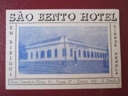 HOTEL MOTEL INN PENSION HOUSE BENTO TAG SAO PAULO BRAZIL BRASIL LUGGAGE LABEL ETIQUETTE KOFFER AUFKLEBER DECAL STICKER - Hotel Labels