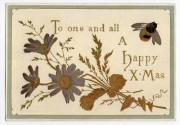 RARE Chromo Victorian Christmas Card Gaufrée Dorée Argentée Carte Voeux Fête Noël Bourdon Insecte Bouquet Fleur Graminée - Non Classés