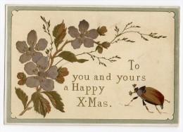 RARE Chromo Victorian Christmas Card Gaufrée Dorée Argentée Carte Voeux Fête Noël Hanneton Scarabée Insecte Fleur - Non Classés