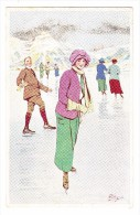 AK Motiv Künstlerkarte Pellegrini - Patinage Sur Glace 2-  Ed. Vouga & Cie #139  Ungebraucht - Illustrators & Photographers