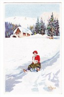AK Motiv Künstlerkarte Pellegrini - Schlitten -  Ges. 30.12.1922 Basel Ed. Vouga & Cie - Illustrators & Photographers
