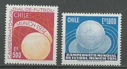 Chile 1974 Football Soccer World Cup Set Of 2 MNH - Coppa Del Mondo