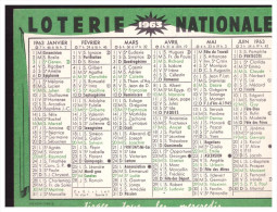 Calendrier 1963 LOTERIE NATIONALE (PPP0560H) - Petit Format : 1961-70