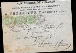 Lettre à Entête Commercaile ( Marennes ) Affranchie Par Yvert 111 X 3 En Avril  1901 - Lot7304 - 1900-29 Blanc