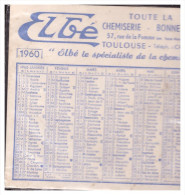 Calendrier 1960 ELBE (chemiserie, Toulouse) (PPP0560M) - Calendriers