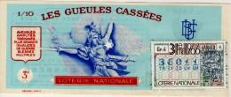 Billet De Loterie Nationale, Gueules Cassées , 1966, (timbre 1966  31ème Tranche, Cancer) - Billets De Loterie