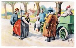 AK Künstler Arthur Thiele - Auto Hat Gans überfahren - Thiele, Arthur