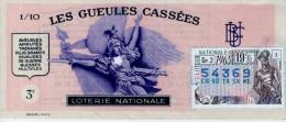 Billet De Loterie Nationale, Gueules Cassées , 1965, (timbre 1965  19ème Tranche) - Billetes De Lotería
