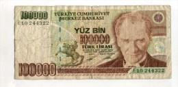 - TURQUIE  . BILLET   100000 L. 1970 . - Turchia