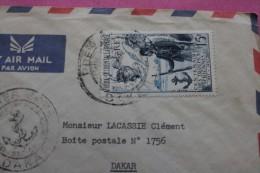 1958 LETTRE PAR AVION CAD 1er JOUR DAKAR SENEGAL CENTENAIRE TROUPES AFRICAINES EX AFRIQUE OCCIDENTALE FRANCAISE ->DAKAR - Cartas