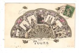 CPA Fantaisie  37 TOURS Multivues ( 7 ) Eventail - Fleurs - Pompons ... - Tours