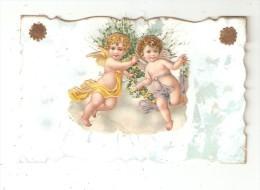 CPA Fantaisie Ajoutis : Anges Légèrement Gaufrés - Fleurs - Imitation Herbe - 2 étoiles Dorées Sur Fond Effet Nacré - A Systèmes
