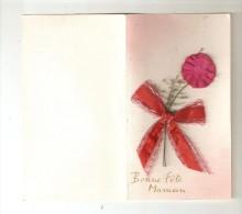 CPA Fantaisie Double Avec Ajoutis Bonne Fête Maman : Fleur Rose & Ruban Rouge + Petite Tige - Fête Des Mères