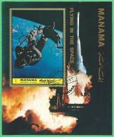 Manama1972: Block Nr. 190 A - Nr. 964 A° - Menschen Im Weltraum 1 R.: Astronaut Withe In Der Schwerelosigkeit - Manama
