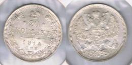 RUSIA 20 KOPEC RUBLO 1914 PLATA SILVER Y BONITA - Rusia