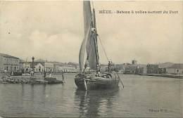 - Ref - J 419 - Herault - Meze - Bateau A Voile Sortant Du Port -  Carte Bon Etat - - Mèze