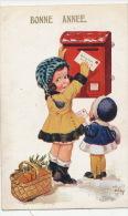"""ENFANTS - LITTLE GIRL - Jolie Carte Fantaisie Fillettes Postant Une Lettre De """"Bonne Année"""" Signée ARTHUR BUTCHER - Nouvel An"""