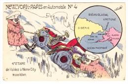 AK Motiv Auto & Humor  New-York-Paris En Automobile N. 4 Ges. 1908 - Non Classés