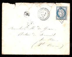 Yvert N° 60c Sur Lsc Oblitéré GC 2393 , Moncontour-de-Bretagne + OR , En 1875  LOT7414 - Marcofilia (sobres)