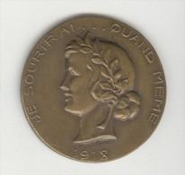 """Médaille """"Je Sourirai...quand Même"""" - """"Les Plus Grands Mutilés Et Invalides De Guerre"""" 1914-1918 - Jetons & Médailles"""