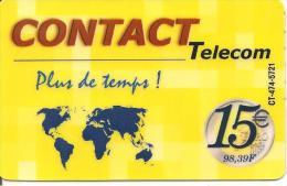 CARTE* PREPAYEE-DOM-TOM-CONTACT TELECOM-15€-PLUS De TEMPS-V° TEXTE Noir-Vert -Rouge-TBE-RARE - Autres Prépayées