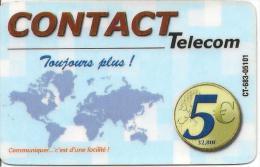 CARTE* PREPAYEE-DOM-TOM-CONTACT TELECOM-5€-PLUS De TEMPS-V° TEXTE Noir-Vert-Rouge-TBE-RARE - Autres Prépayées