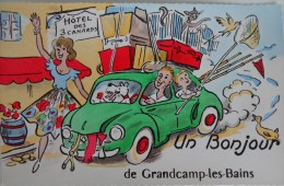 14 GRANDCAMP LES BAINS UN BONJOUR  CARTE HUMORISTIQUE VOITURE 4 CHEVAUX RENAULT - France