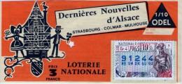 Billet De Loterie Nationale, Dernières Nouvelles D´Alsace, 1965, (timbre 1965, 19ème Tranche) - Billets De Loterie