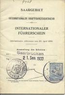 Saargebiet Internationaler Fuhrerschein Deutches Reich 1933 Saarbrucken - Vieux Papiers
