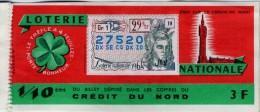 Billet De Loterie Nationale, Crédit Du Nord, 1964, (timbre 1964, 29ème Tranche) - Billetes De Lotería