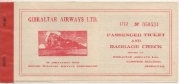 "02320 ""GIBRALTAR AIRWAYS LTD""  PASSENGER TICKET AND BAGGAGE CHECK 1958 - GIBRALTAR-TANGIER - Plane"