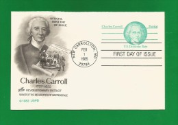 New Carrollton 1985  ,  Charles Carroll - Replay Postal Card - First Day Of Issue  FEB. 1. 1985 - 2 Scan - 1981-00