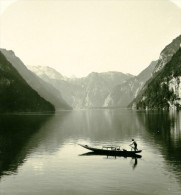 Allemagne Montagnes Bavaroise Lac Konigsee Malerwinkel Ancienne Photo Stereoscope NPG 1900 - Stereoscopic
