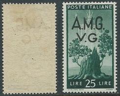 1945-47 TRIESTE AMG VG DEMOCRATICA 25 LIRE FILIGRANA LETTERA MH * - L5 - Nuovi