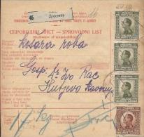 Sprovodni List (Bulletin D´expédition) DO000040 - Daruvar To Kutjevo 1926 - Fatture & Documenti Commerciali