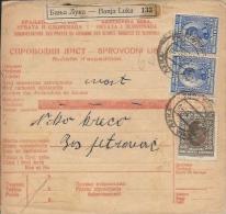 Sprovodni List (Bulletin D´expédition) DO000042 - Banja Luka To Bosanski Petrovac 1927 - Invoices & Commercial Documents