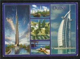United Arab Emirates UAE With Stamp Dubai Picture Postcard Dubai Burj Khalifa Burj Al Arab Birds Eagle Animal Post Card - Dubai