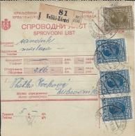 Sprovodni List (Bulletin D´expédition) DO000049 - Veliki Zdenci To Dubrovnik 1928 - Fatture & Documenti Commerciali