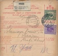 Sprovodni List (Bulletin D´expédition) DO000053 - Veliki Beckerek To Sarajevo 1928 - Invoices & Commercial Documents