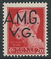 1945-47 TRIESTE AMG VG IMPERIALE 20 CENT RUOTA MNH ** - L1-2 - Trieste