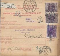 Sprovodni List (Bulletin D´expédition) DO000055 - Zagreb To Varazdin 1928 - Facturen & Commerciële Documenten